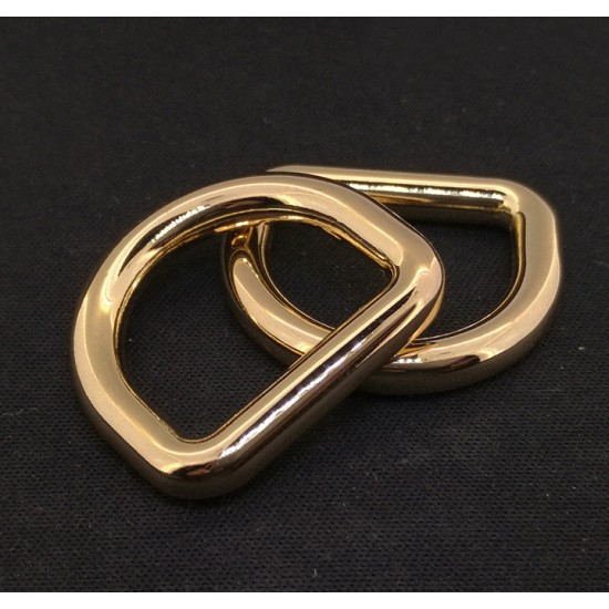 1pc/lot Gold and silver kirsite D ring, inner diameter 15mm, 20mm, 25mm