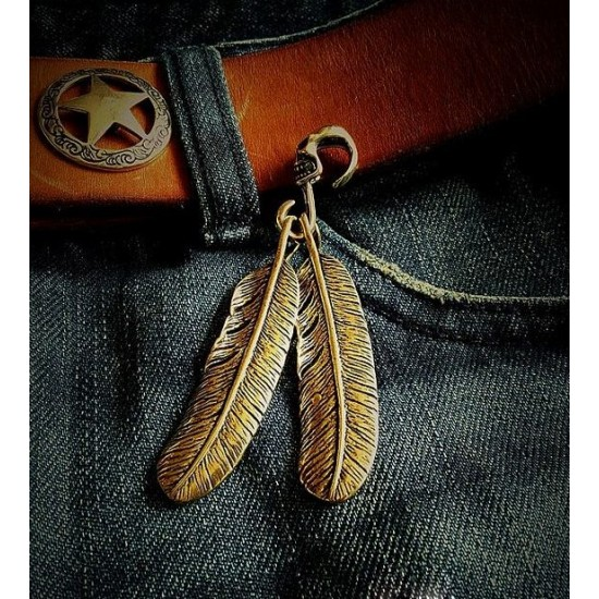 leather ornament pendant, leather traveler notebook decoration feather
