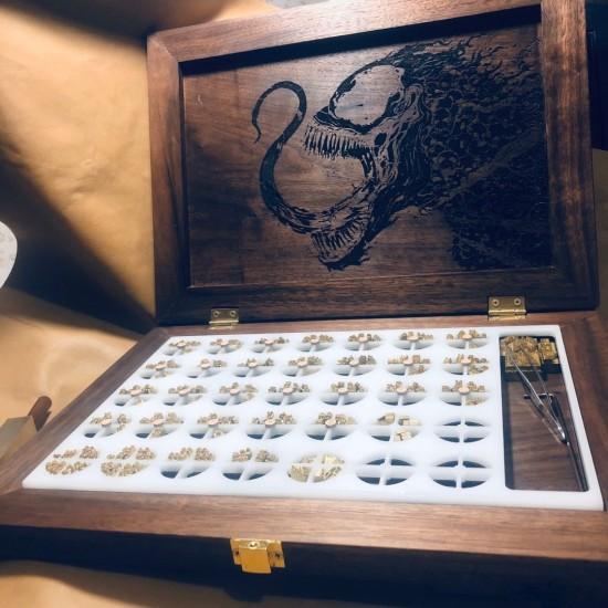Free shipping Brass stamp alphabet number storage case
