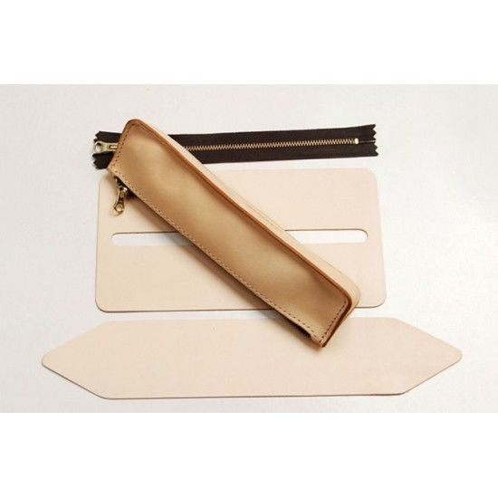 Precut leather material kit pencil case M-34