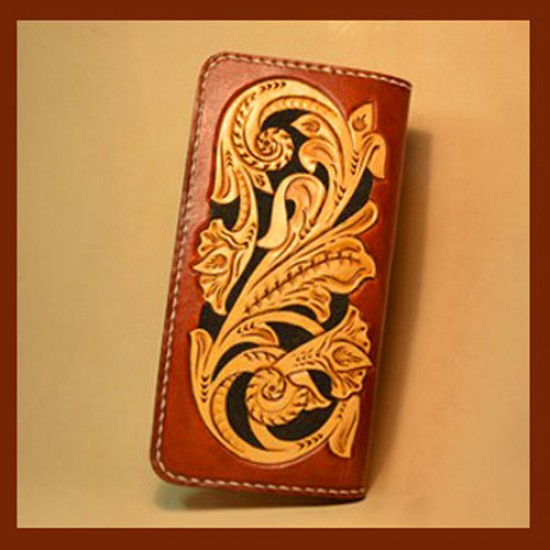 PDF Leather craft pattern long wallet pattern leather purse pattern Instant download western-3 leather tracking patterns