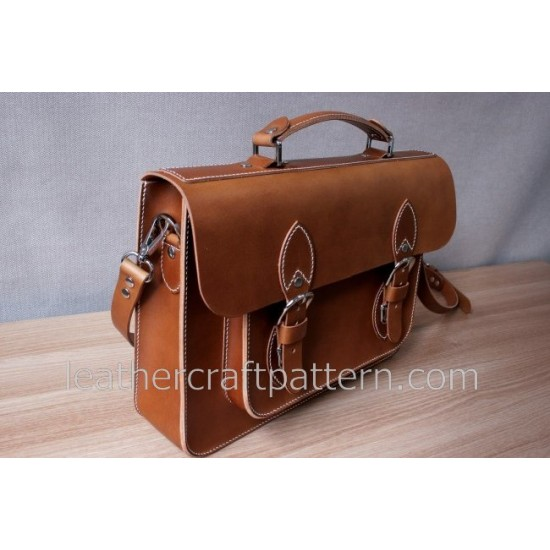 Bag Pattern Briefcase Pattern Cambridge Satchel Man shoulder bag PDF ACC-07 leather craft patterns leather art leather supply