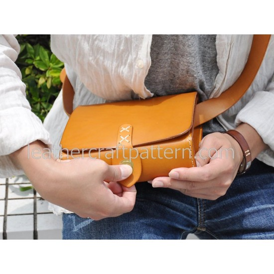 Leather bag sewing patterns leather craft pattern messenger bag pattern ACC-23 PDF instant download