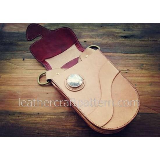 Leather bag patterns ACC-58 waist backpack pocket PDF instant download leathercraft patterns