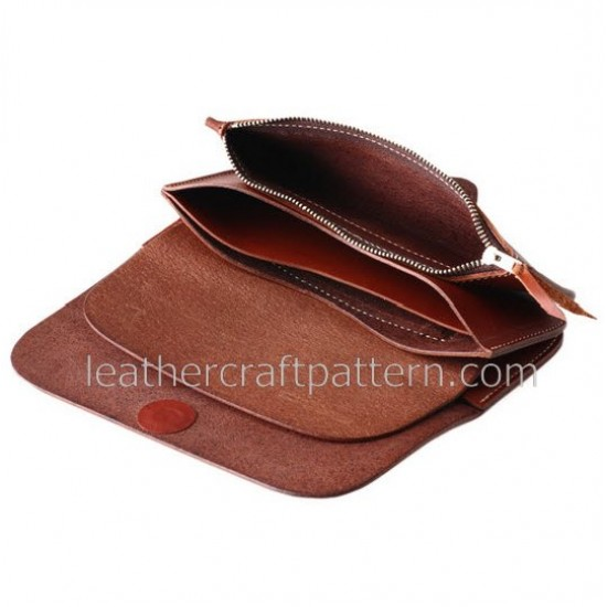 Leather wallet pattern, long wallet pattern, pdf, download, leathercraft pattern LWP-01