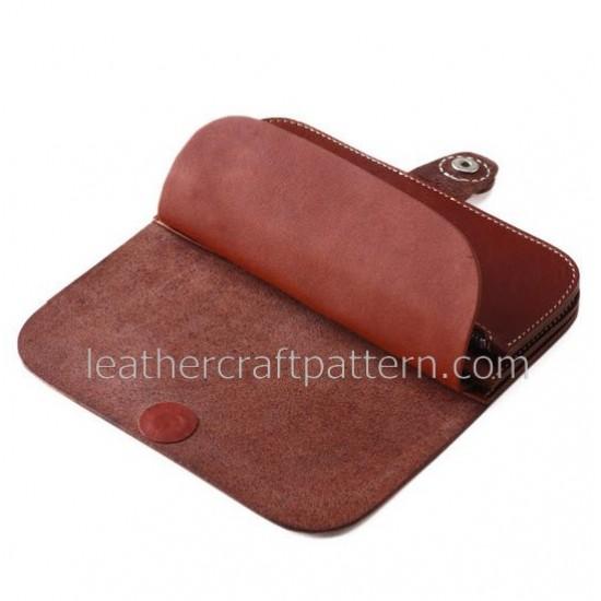 Leather wallet pattern, long wallet pattern, pdf, download, leathercraft pattern LWP-01