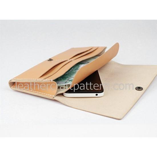 Leather wallet pattern, long wallet pattern, PDF download, LWP-02, leather art leather craft patterns leathercraft patterns hand stitched pattern