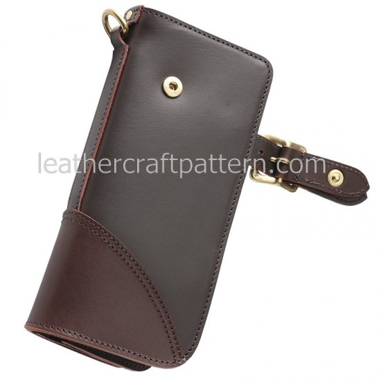 leather wallet pattern, long wallet pattern PDF download, LWP-03, leathercraft pattern hand stitched pattern