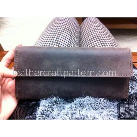 Leather wallet pattern long wallet pattern PDF download, LWP-10, crazy horse leather wallet pattern leathercraft pattern hand stitched pattern