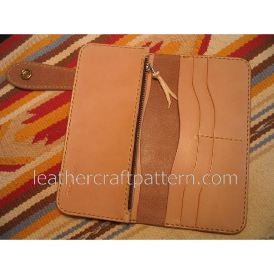 Bag stitch patterns long wallet pattern PDF LWP-16 leather craft leather working leather working patterns bag sewing