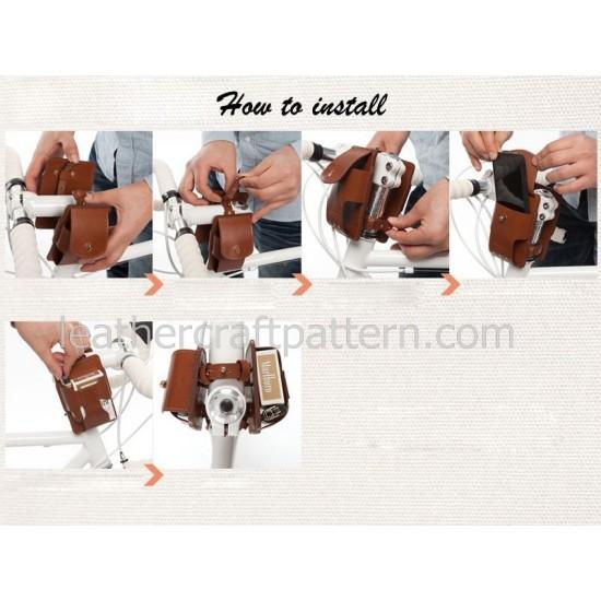 Leather bicycle bag pattern PDF download SLG-27 leather purse pattern leathercraft pattern hand stitched pattern