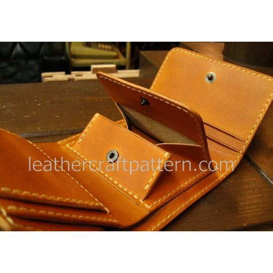Leather wallet pattern, billfold pattern, short wallet pattern, pdf, SWP-03, leathercraft pattern, leather instruciton, leather bag patterns