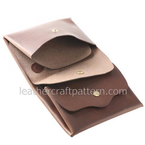 Leather wallet pattern, SWP-04, billfold pattern, short wallet patterns, PDF instant download, leathercraft patterns, leather craft patterns. leather working template