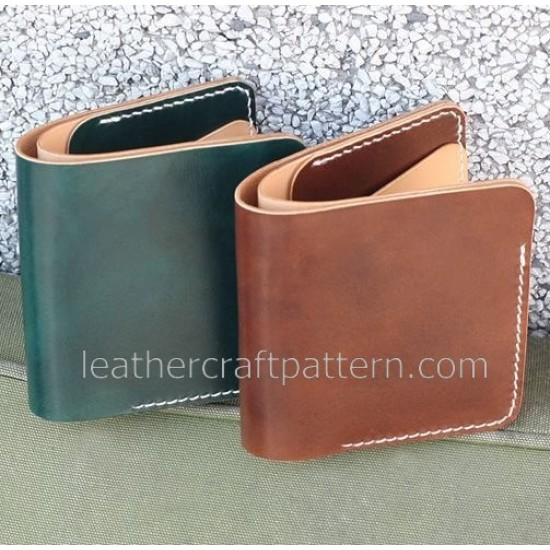 Wallet sewing pattern short wallet patterns PDF instand download SWP-08 leather craft leather working pattern