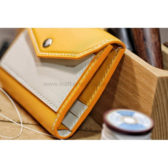With 135 detailed pictures instruction leather triple fold wallet template leather short wallet pattern pdf download SWP-35
