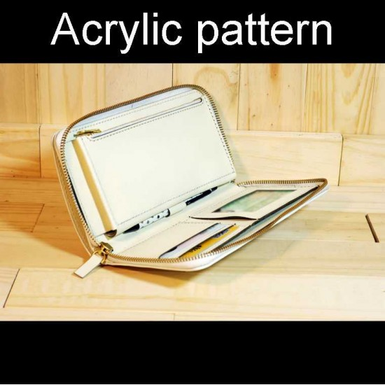 With instruction - Laser cut Acrylic template, clutch bag pattern, A-124