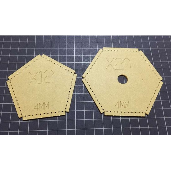 With instruction - Laser cut Acrylic template, Soccer pattern, A-136