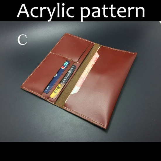 Laser cut Acrylic template, PMMA pattern, long wallet template, A-75