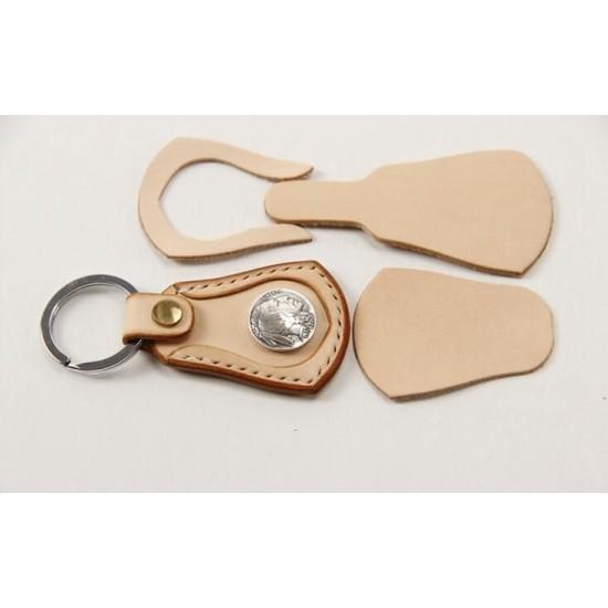 5 sets/ lot Precut leather material kit key pendant M-29