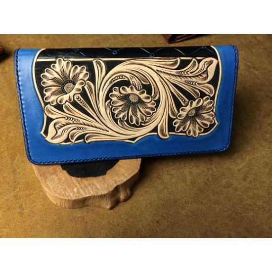 PDF Leather craft pattern long wallet pattern leather purse pattern Instant download western-5 leather tracking patterns