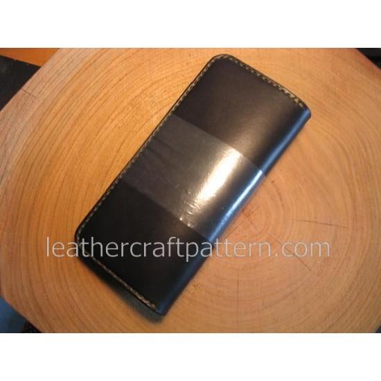 Leater wallet pattern long wallet pattern PDF LWP-17 leather craft leather working leather working patterns bag sewing