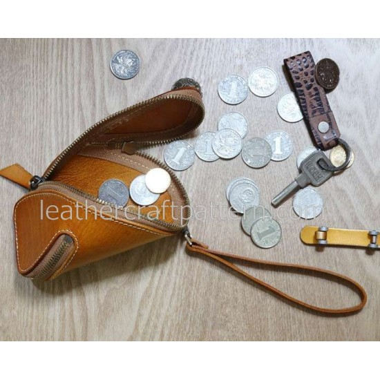 With instruction Leather wallet pattern coin purse pattern SLG-16 PDF instant download leathercraft pattern leather craft pattern leather pattern leather template