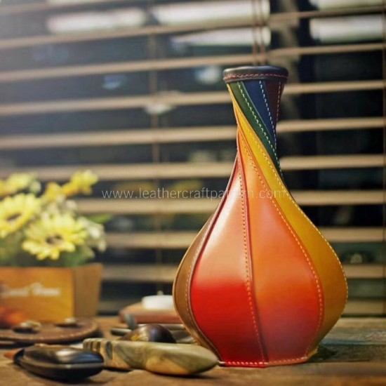 Leather flower bottle pattern pdf instant download SLG-87